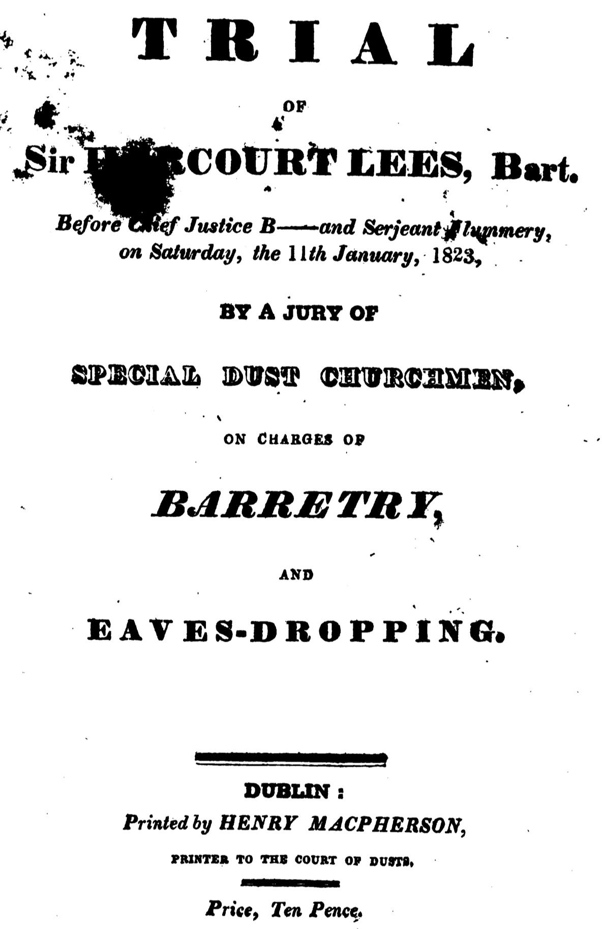 Trial of Sir Harcourt Lees (1823)